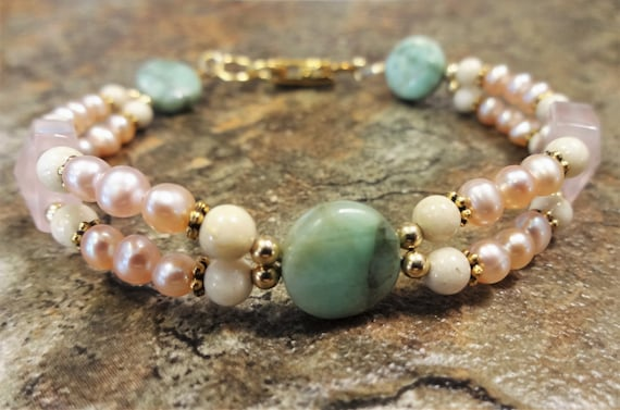 Rose Quartz, Rose Quartz Bracelet, Chrysoprase, Blush Bracelet, Blush Jewelry, Pearl Bracelet, Gemstone Jewelry, Mint, Gift for Her