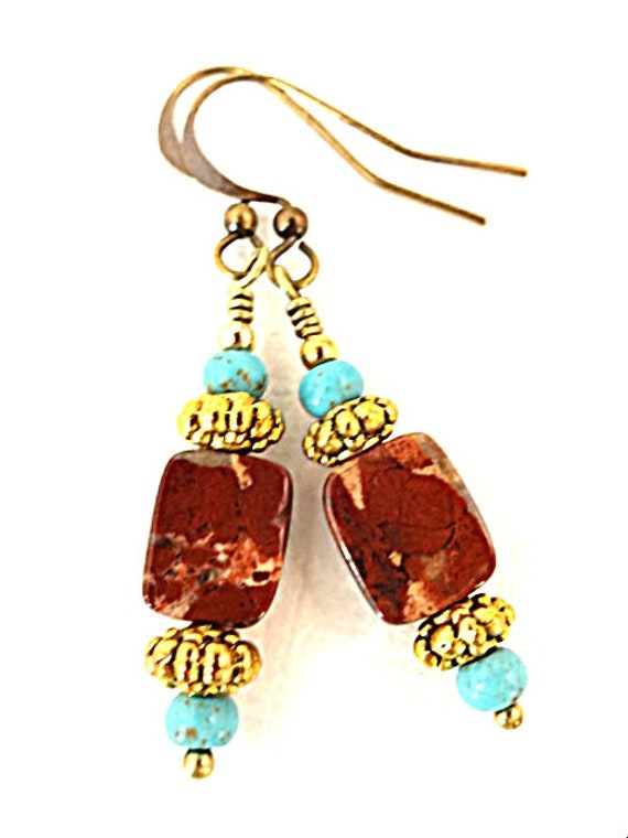 Bohemian Earrings Jasper Earrings Turquoise Earrings Gemstone Earrings Stone Earrings Jasper Jewelry Rustic Earrings Jewelry Gift for Mom