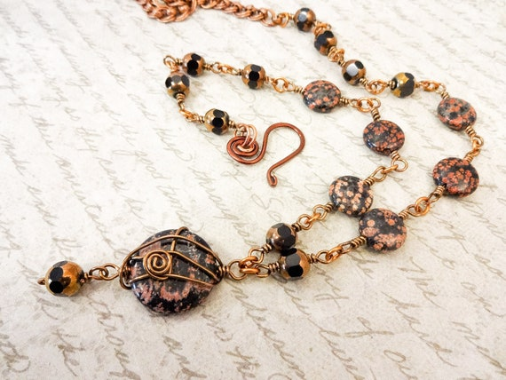 Mexican Snowflake Jasper & Glass Necklace, Black and Copper Jewelry, Long Black Gemstone Necklace