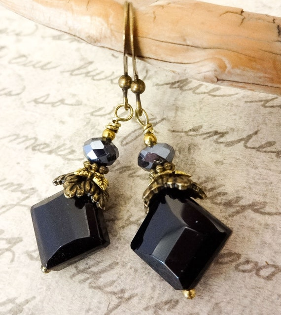 Black Onyx Faceted Square Earrings, Black Gemstone Earrings, Black and Antique Gold Contemporary Earrings