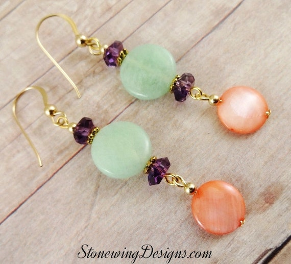 Mint Green Chrysoprase, Amethyst, Orange Mother of Pearl and 14K Gold Fill Earrings