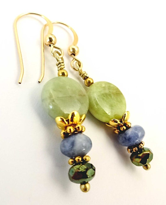 Green Garnet and Sodalite Boho Earrings Green Gemstone Bohemian Mixed Stone Everyday Casual Earrings Sodalite Jewelry