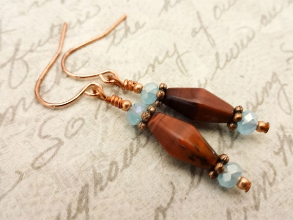 Red Tiger Eye and Czech Faceted Glass Earrings, Brown and Aqua Blue Dangle Earrings, Gift for Her, Copper Stone and Glass Earrings