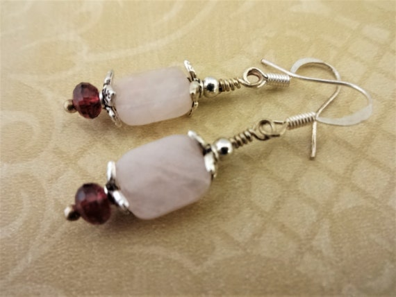 Rose Quartz and Garnet Earrings, Pink and Red Gemstone Earrings, January Birthstone Earrings, Gift for Her