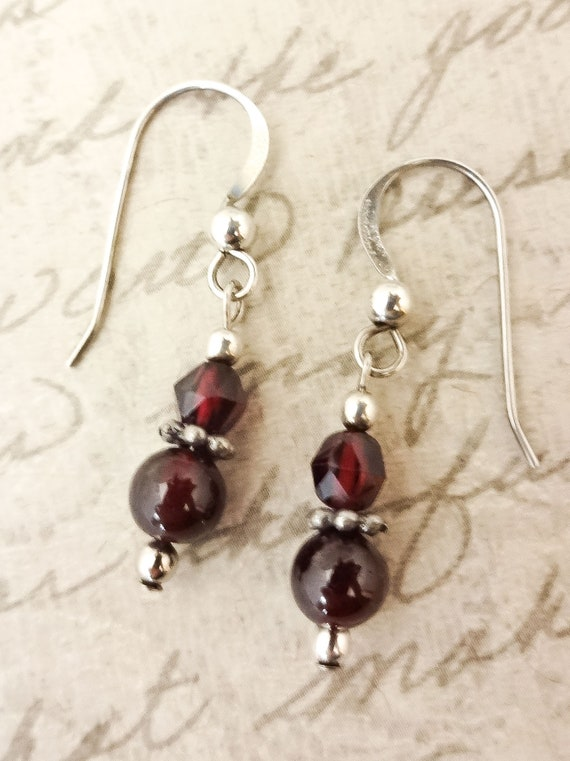 Garnet Earrings, Gemstone Earrings, January Birthstone Earrings, Garnet Gemstone Earrings, Garnet Jewelry, Dark Red Earrings, Red Gemstone