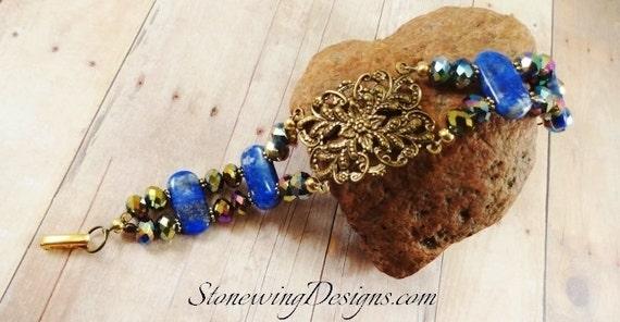 Lapis Bracelet, Lapis Lazuli Gemstone Bracelet, Cobalt Blue Stone Bracelet with Antique Brass Filigree, Chunky Style Bracelet