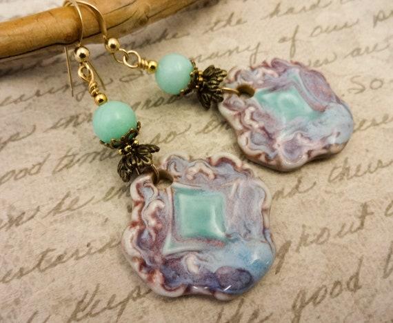 Lavender and Mint Green Earrings, Artisan Ceramic Earrings, Bohemian Earrings, Handmade Earrings, Long Earrings, Unique Earrings