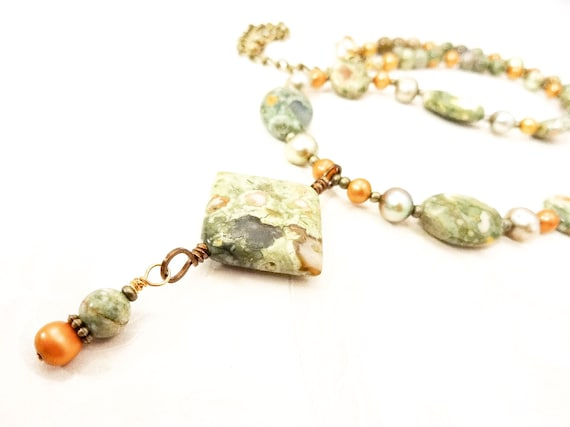 Rainforest Jasper and Green Freshwater Pearl Necklace, One of a Kind Stone and Pearl Necklace, Gift for Mom, Chunky Gemstone Necklace