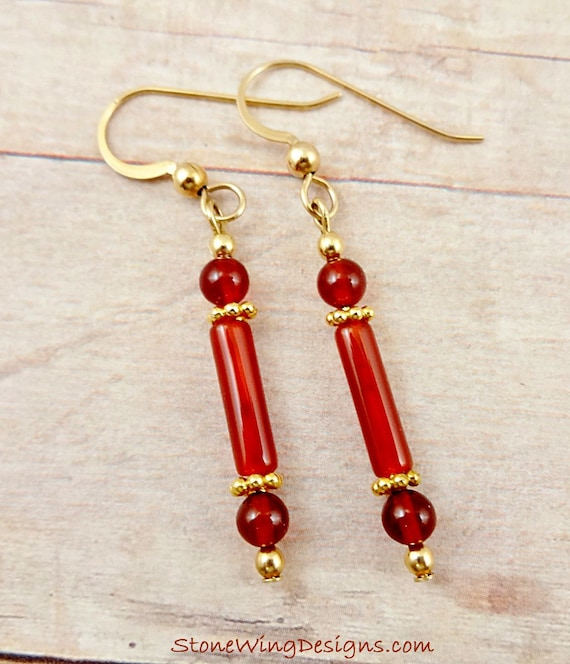 Carnelian Earrings, Gemstone Earrings, Orange Stone Earrings, Carnelian Jewelry, Long Earrings, Orange Gemstone, Skinny Earrings