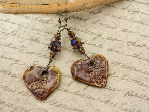 Artisan Earrings, Majoyoal Ceramic, Artisan Ceramic Hearts, Maroon Earrings, Rustic Boho Earrings