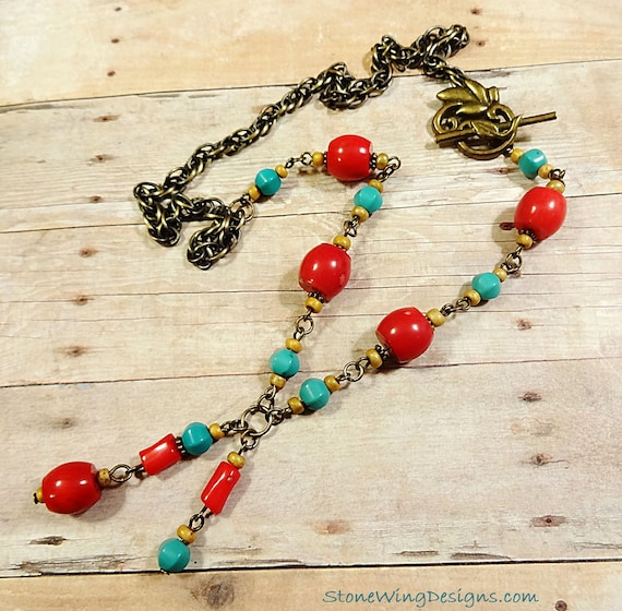 Rustic Boho Coral and Turquoise Necklace