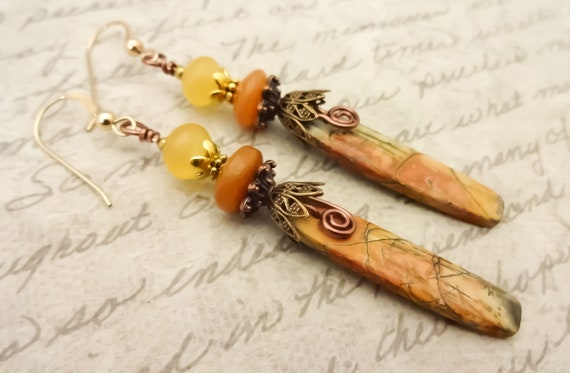 Red Creek Jasper Earrings, Rustic Boho Stone Earrings, Yellow and Orange Gemstone Earrings, Harvest Color Earrings, Fall Colors Jewelry