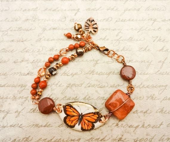Red Jasper Poppy Jasper Bone Coral Crystal Copper Ceramic Monarch Butterfly Bracelet, Gift for Mom, Boho Style Brick Red Rustic Bracelet