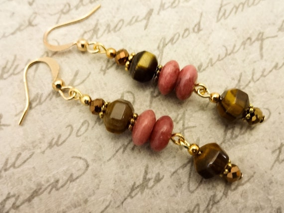 Tiger Eye and Rhodonite Gemstone Earrings, Brown and Pink Dangle Earrings, Mothers Day Gift, Gift for Her