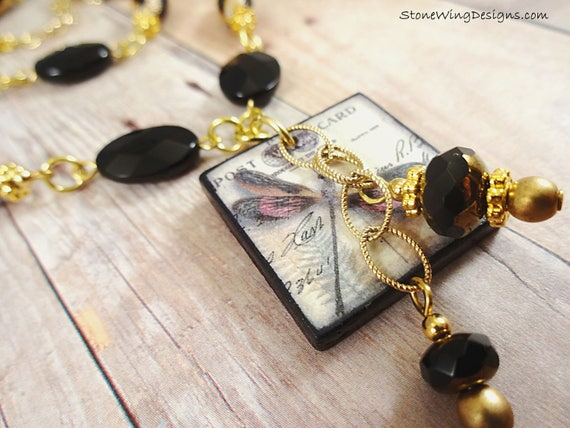 Black Onyx Gemstone and Dragonfly Necklace