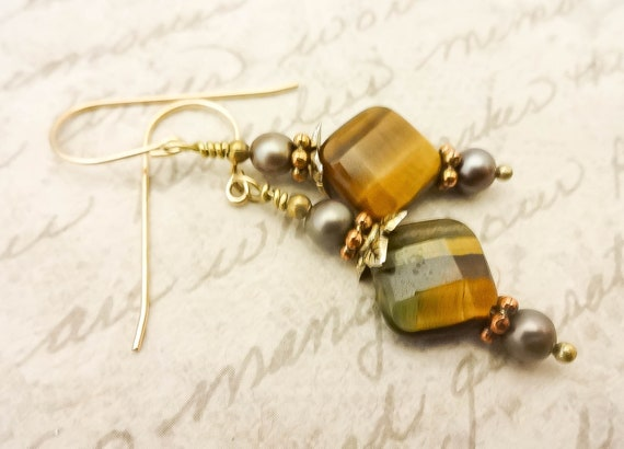 Tiger Eye and Taupe Freshwater Pearl Earrings, Brown Dangle Earrings, 14k Gold Fill Earrings, Gift for Her
