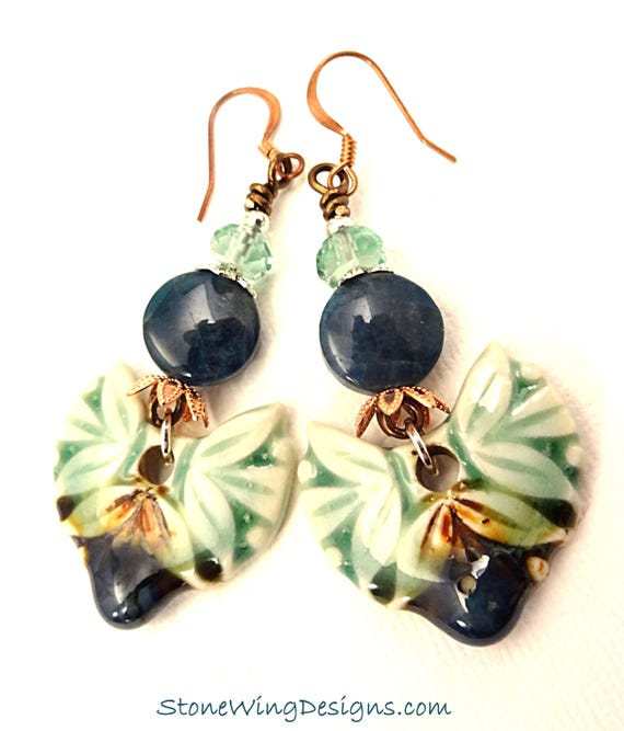 Bohemian Earrings in Artisan Ceramic, Apatite and Green Fluorite