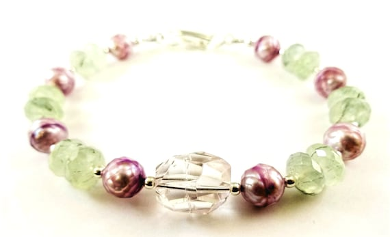 Amethyst, Prehnite and Faceted Lavender Pearl Bracelet