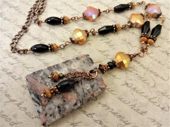 Gray Black White and Pink Stone Necklace with Black Onyx and Czech Glass, Pendant Necklace and Earring Set, Neutral Colors