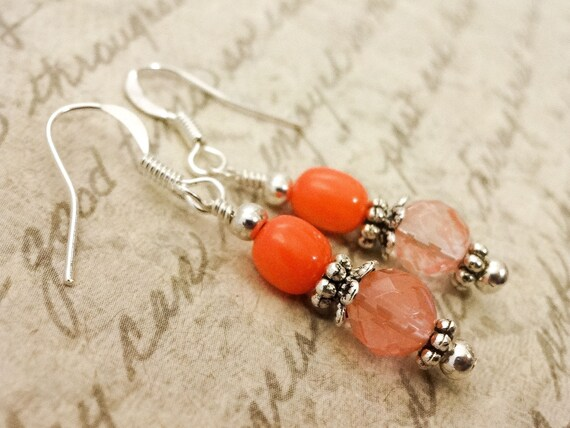 Cherry Quartz and Coral Earrings, Peach Orange Gemstone Jewelry, Gift for wife, Gift for Mom