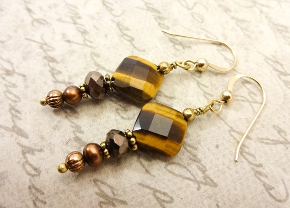 Tiger Eye, Freshwater Pearl and Crystal Earrings, Brown Dangle Earrings, 14k Gold Fill Earrings, Mothers Day Gift, Gift for Her