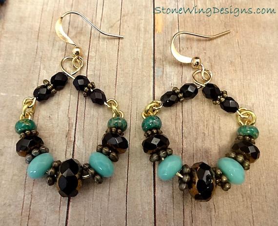 Rustic Boho Handmade Hoop Earrings in Black and Green
