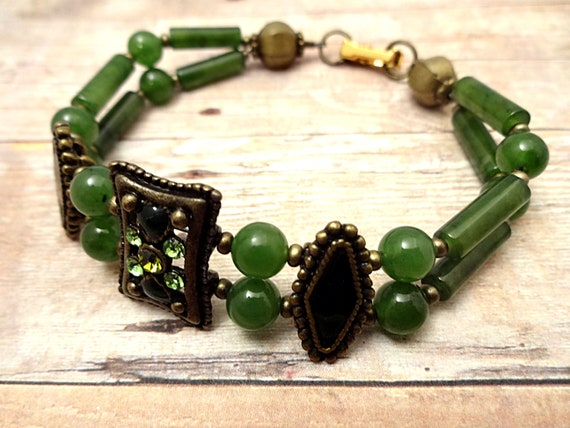Genuine Jade Bracelet Jade Jewelry Gemstone Jewelry Green Gemstone Bohemian Bracelet Gift for Mom Gift for Wife Green Jade Jewelry