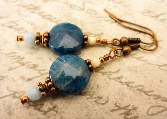 Blue Apatite Gemstone Earrings with Copper Wire