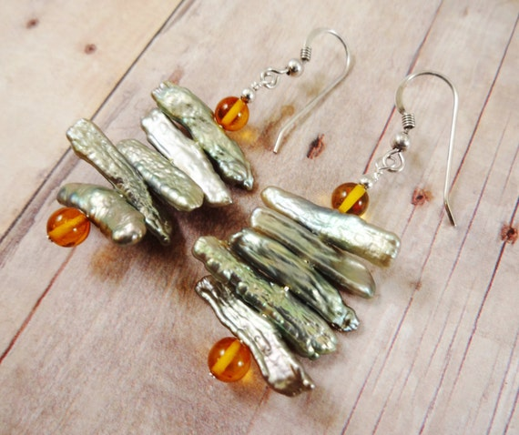 Green Biwa Stick Pearl and Baltic Amber Earrings