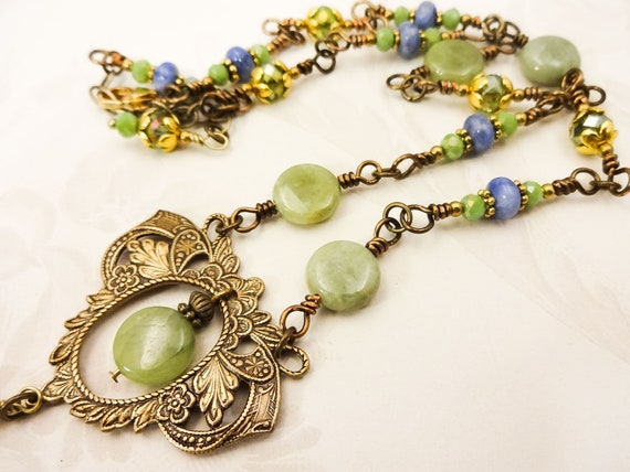 Vintage Style Green Garnet and Antique Brass Filigree Boho Necklace