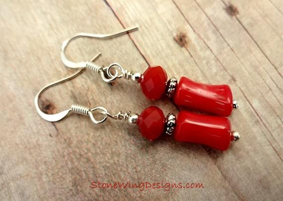 Red Coral Earrings, Red Coral and Silver Earrings, Rustic Boho Earrings, Red Earrings, Gift for Her