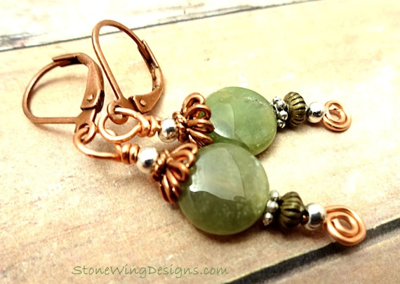 Bohemian Style Green Garnet and Copper Earrings