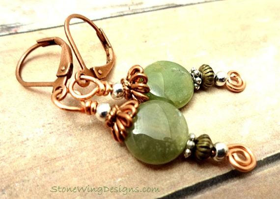 Bohemian Style Green Garnet and Copper Earrings