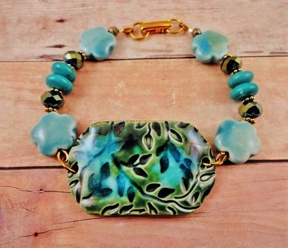 Turquoise Bracelet Bohemian Bracelet Boho Bracelet Aqua Jewelry Blue Green Rustic Gypsy Flower Bracelet One of a Kind Ceramic Jewelry