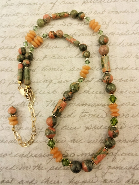 Unakite Necklace, Green and Orange Gemstone Necklace, Fall Colors Jewelry, Stone and Crystal Necklace, Gift for Her