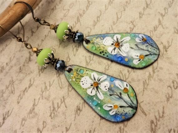 Artisan Enamel Earrings in Lime Green and Blue, One of a Kind Artisan Earrings, Handmade Earrings, Gift for Her