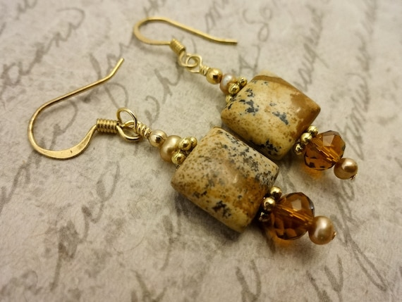 Picture Jasper Pearl and Czech Firepolish Earrings, Brown Gemstone Earrings, Jasper Earrings