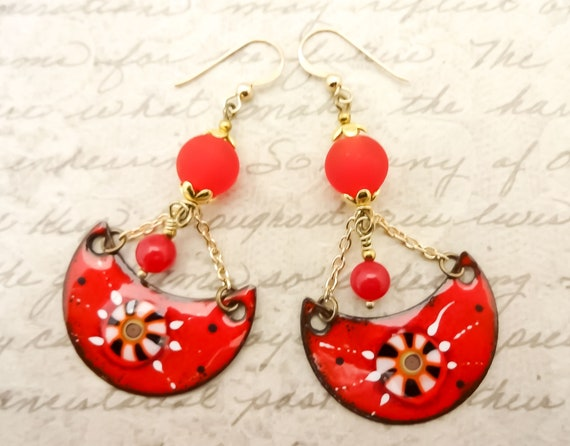 Red Artisan Enamel Moon Earrings, One of a Kind Boho Earrings