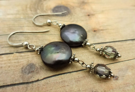 Gray Coin Pearl Earrings, June Birthstone Jewelry, Dark Gray Pearl, Swarovski Crystal and Sterling Silver Earrings