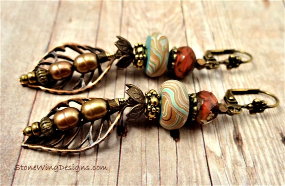 Boho Rustic Leaf Earrings with Mixed Metals