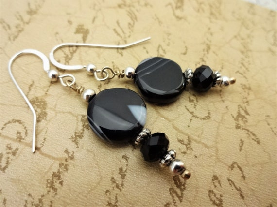 Striped Onyx Gemstone Earrings, Black and Silver Earrings, Striped Onyx Jewelry, Gift for Wife, Gift for Her