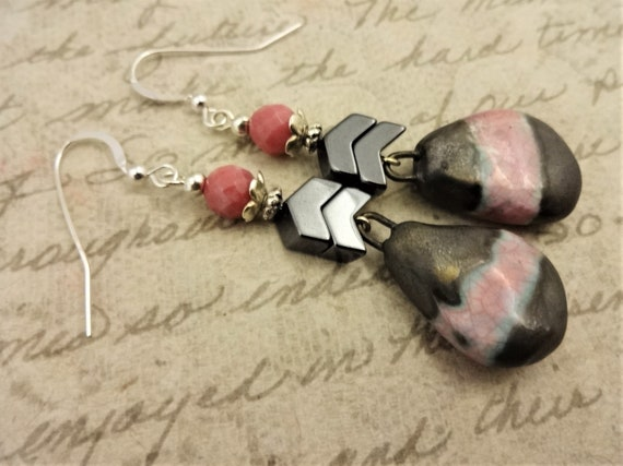 Pink and Metallic Gray Earrings, Artisan Porcelain, Rhodonite and Hematite Earrings, Gift for Her, Long Dangle Earrings