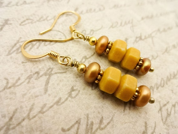 Yellow Jasper Earrings, Butterscotch Yellow Jewelry, Natural Stone and Pearl Earrings, Jasper Earrings, Gift for Wife or Girlfriend