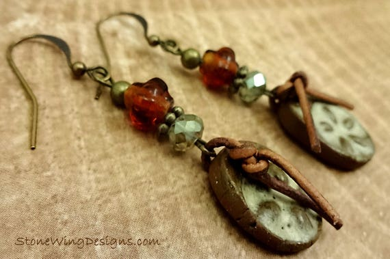 Rustic Boho Earrings, Artisan Ceramic, Ceramic and Leather, Antique Brass Earrings, Rustic Earrings, Western Earrings, Cowgirl Earrings