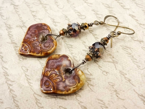 Bohemian Earrings, Majoyoal Ceramic Earrings, Dark Red Purple Brown Earrings, Statement Earrings, Unique Gift for Her
