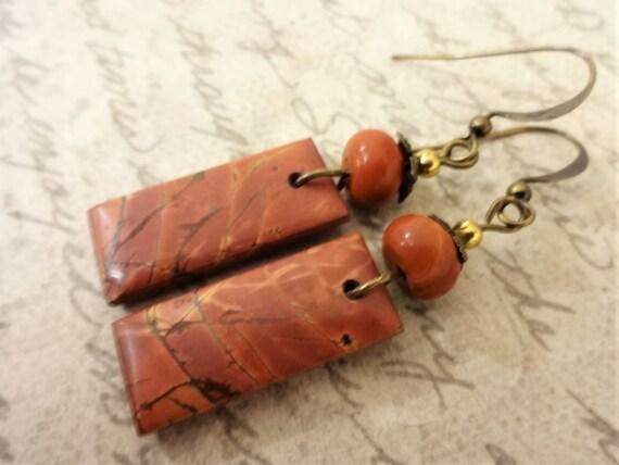 Cherry Creek Jasper and Red Jasper Artisan Earrings, Gemstone Stick Earrings in Terra Cotta
