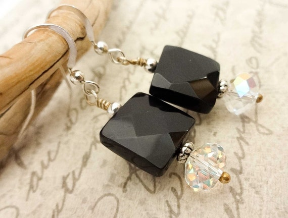 Black Onyx Earrings, Black Gemstones with Sterling Silver Ear Wires, Gift for Mom, Gift for Wife