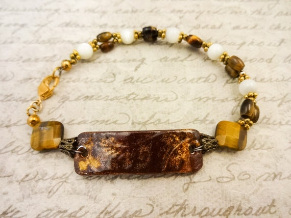 Tiger Eye, Mother of Pearl and Ceramic Bracelet, Brown and White Gemstone Jewelry, Tigers Eye and Mother of Pearl, Gift for Her