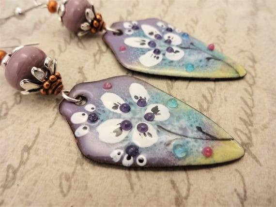 Artisan Enamel Earrings, Lavender and Aqua One of a Kind Artisan Earrings, Handmade Earrings, Gift for Her