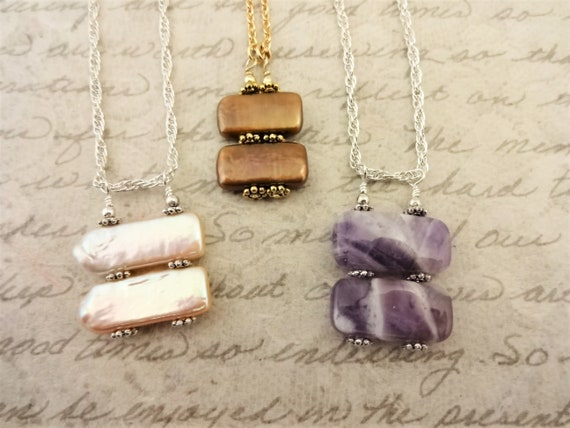 Biwa Stick Pearl Necklace, Dogtooth Amethyst Necklace, Unusual Stacked Gemstone Necklace, Gift for Her